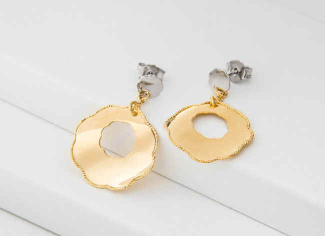 FLOWERET golden silver earrings_Charm Silver