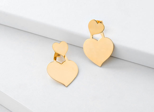 HEART&SOUL golden silver earrings_Charm Silver