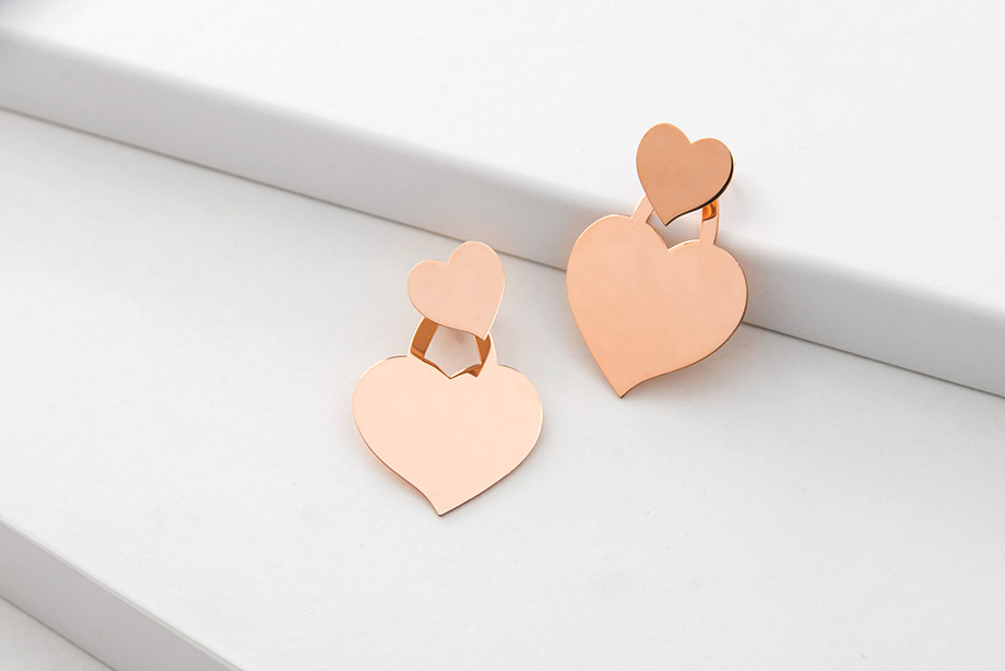 HEART&SOUL rose golden silver earrings_Charm Silver