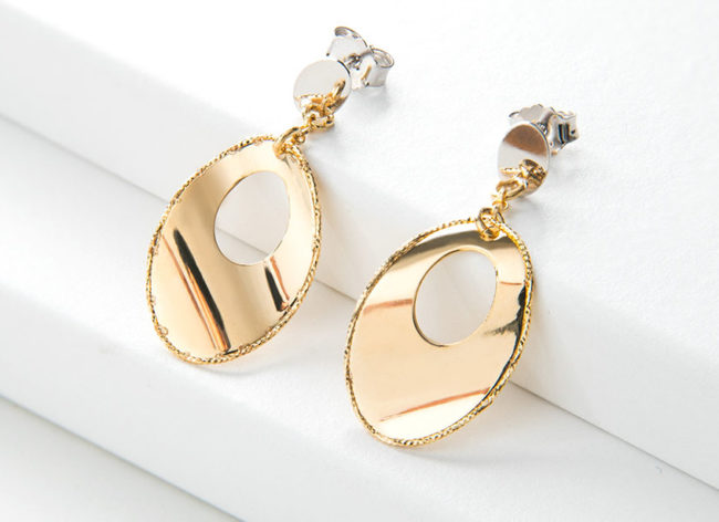 MEDIAN golden silver earrings_Charm Silver