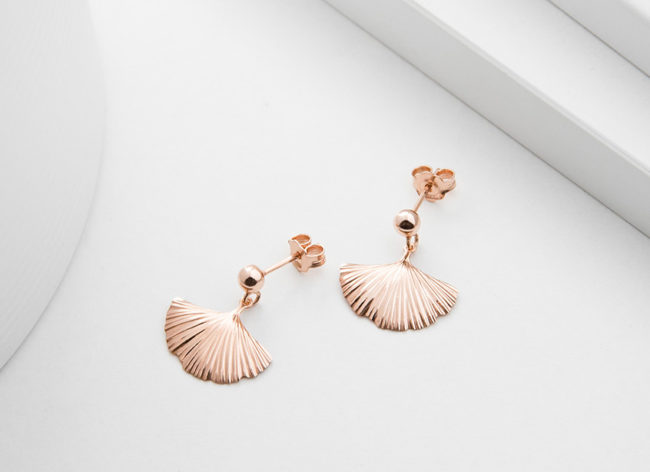 MY TREASURE rose golden silver earrings_Charm Silver