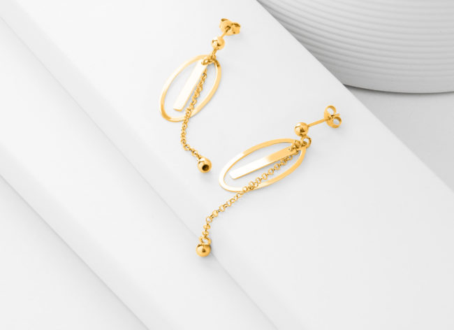 MOON STRINGS golden silver earrings-Charm Silver