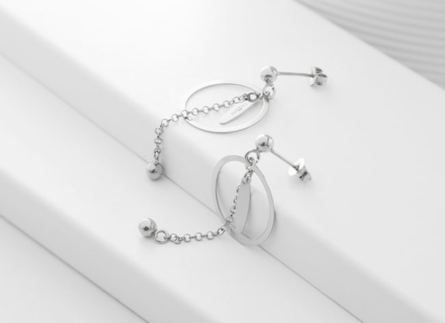 MOONY silver earrings-Charm Silver