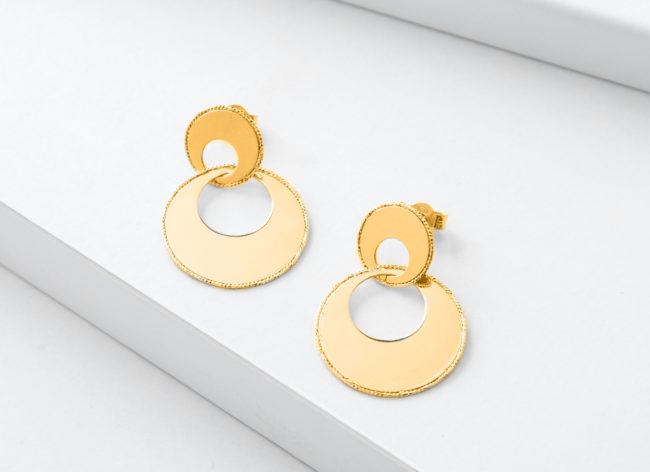 UNIVERSE golden silver earrings-Charm Silver